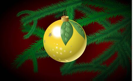 Yellow Christmas bauble on the fir branch Vector