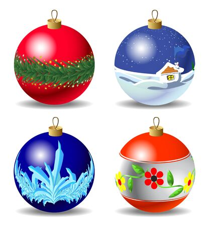Set of red and blue Christmas baubles Vector