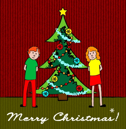 Boy and girl with Christmas tree card Stock Vector - 15494137