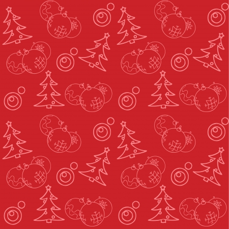 christmas baubles of modern design: Christmas themed seamless pattern with baubles and firs