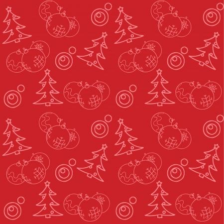 Weihnachten themed nahtlose Muster mit Kugeln und Tannen