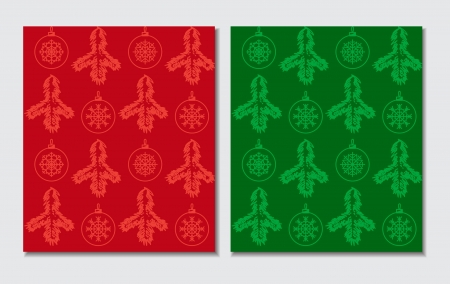 Red and green Christmas themed seamless pattern Vector