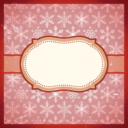 Classic vintage red frame with snowflakes pattern Vector