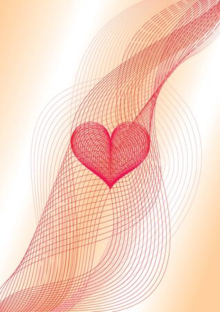 Sweet heart made of wavy blended wires Vector