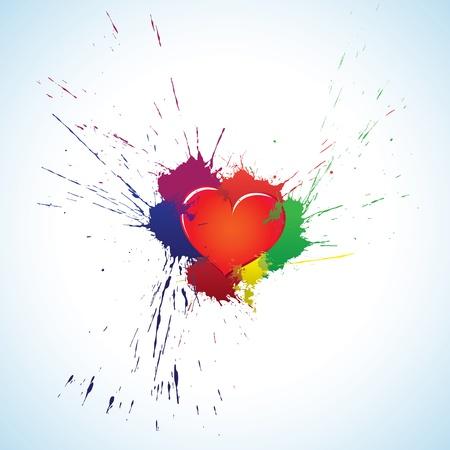 ink splat: Purple heart symbol with colorful ink blots Illustration