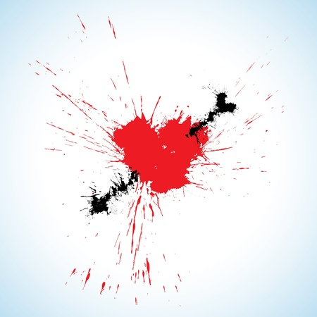 Heart and arrow made of ink blots