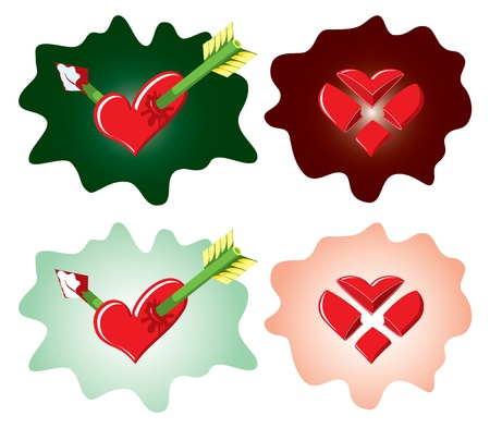 Approved and rejected icons with cut and arrowed hearts Stock Vector - 15494092