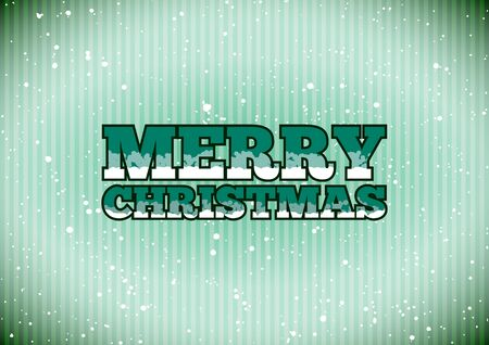 Green cold Merry Christmas sign with snowflakes Vector