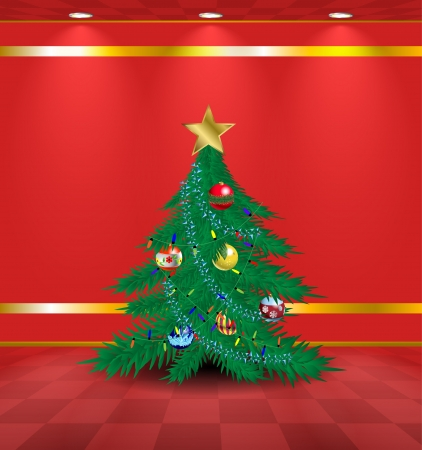 Lightened red room with Christmas tree and garlands Vector