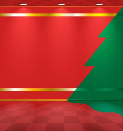 Red room with fir sticker on the wall Vector