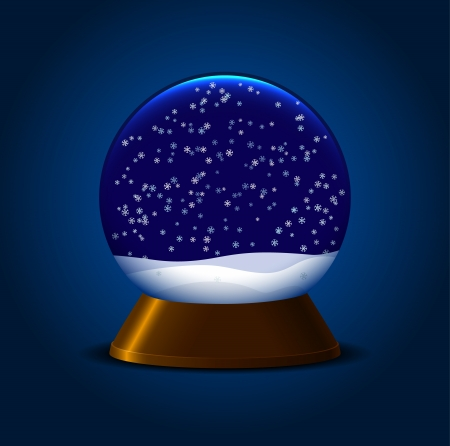 Empty magic snow ball with stand and snowflakes Vector