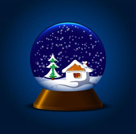 snowglobe: Magic snow ball with hut and fir Illustration