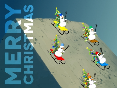 Card with snowmen skating down the hill Vector