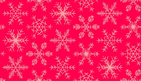 Seamless snowflakes pattern on the red background