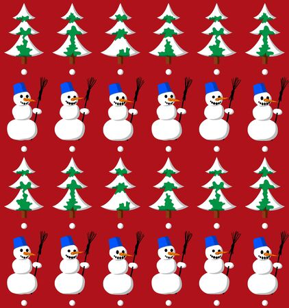 Snowman with bucket and fir seamless pattern Vector