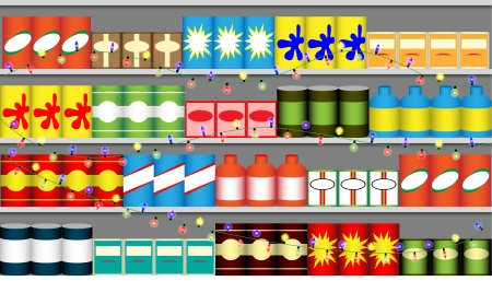 mall interior: Supermarket shelves with boxes, bottles and colorful garlands