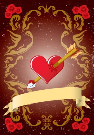 Vintage Valentine card with roses, arrow and heart Stock Vector - 15494164