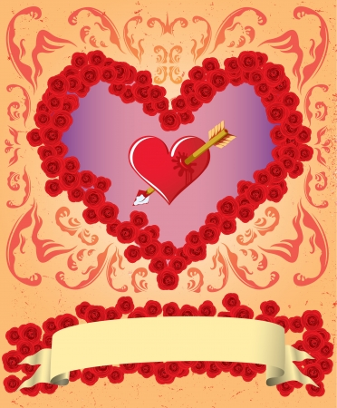 Vintage Valentine card with ribbon and heart Vector