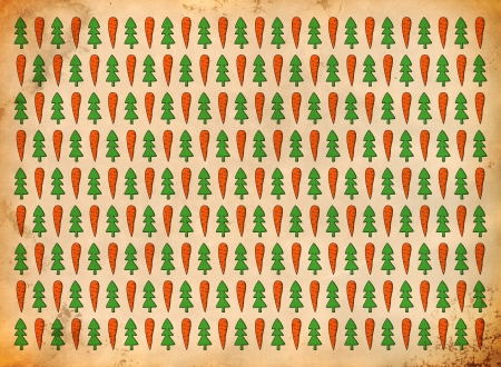 Carrot and fir pattern on the grungy paper photo