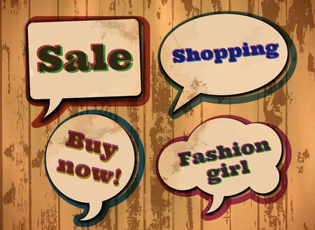 Vintage shopping and fashion themed speech bubbles Vector