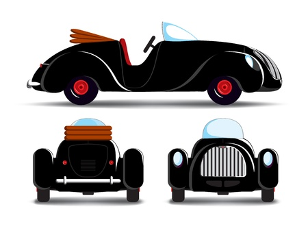 antique car: Cartoon black cabriolet car with red rims
