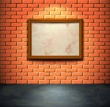 Lightened brick wall with aged empty frame Illustration