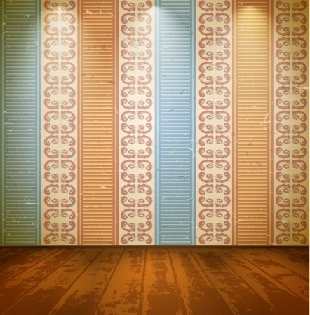 decoration messy: Lightened room with wooden floor and floral wallpaper