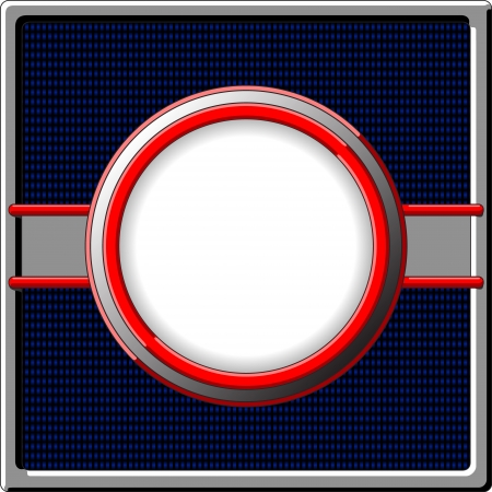 Retro chrome frame with red circle and blue background Vector