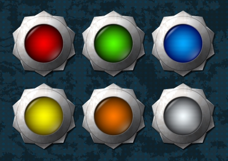 Set of shiny and colorful star buttons Vector