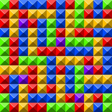 abstract cubes: Colorful pyramid tiles pattern with red and blue cells Illustration