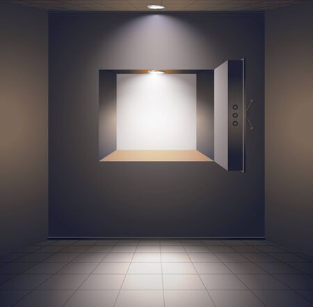 Bank room with safe and tiled floor Vector