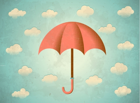 umbrella rain: Aged vintage card with clouds and umbrella Illustration