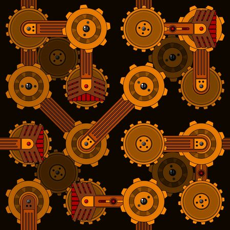 Seamless cogwheel pattern with screwed hitech connectors Vector