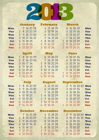 Retro 2013 calendar printed on aged paper Vector