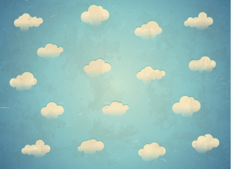 nubes caricatura: Vintage tarjeta edad con nubes en el cielo
