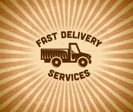 Fast delivery vintage label with truck and rays Vector