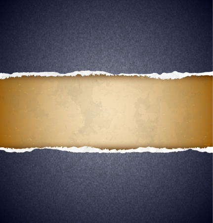 Textured black torn paper with aged cardboard on the background Vector
