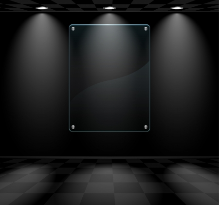 art gallery: Black lightened room with transparent glass placeholder Illustration