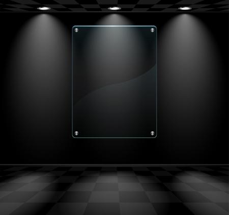 art gallery: Black lightened room with transparent glass placeholder Illustration