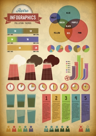 Pollution themed retro infographics with pipes and smoke