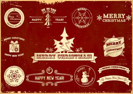 Set of original Christmas themed vintage labels Vector