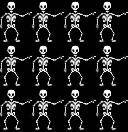 human skeleton: Pointing skeletons black and white seamless pattern Illustration