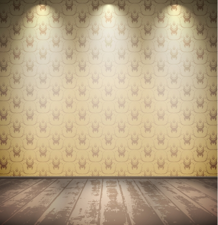 Abandoned grungy pale room with wooden floor Vector