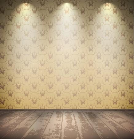 Verlassene grungy blasse Zimmer mit Holzfußboden Illustration