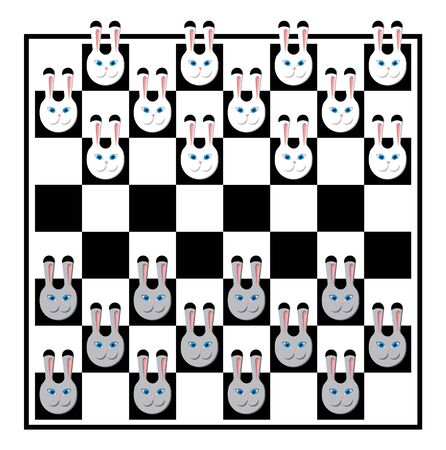 Chess board with white and grey rabbits Vector