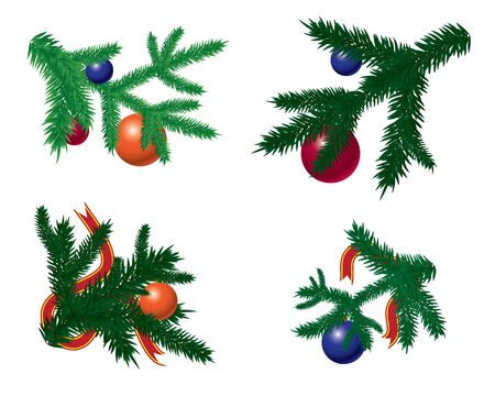 Set of Christmas tree branches with baubles Vector