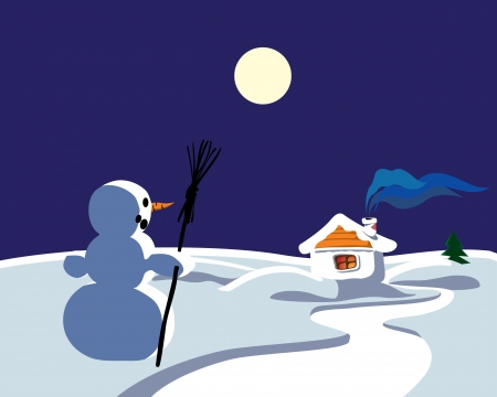 Winter landscape with moon, snowman and hut Vector