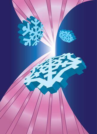 Flying 3D snowflakes in pink lightened corridor Stock Vector - 16215585