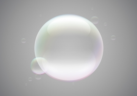 Transparent soap bubble frame on grey background Vector