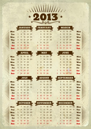 Vintage styled 2013 calendar with ribbons on aged paper Vector